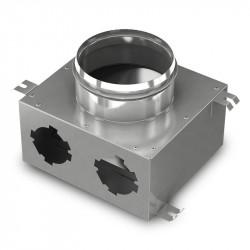 Cutie de distribuție metalică pentru conectarea sistemului Flexitech Ø 75 mm cu 2 ieșiri
