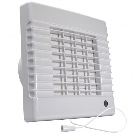 Ventilator de baie cu jaluzele automate și întrerupător cu fir Ø 100 mm, motor mai puternic