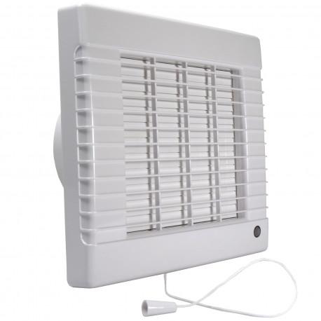 Ventilator de baie cu jaluzele automate, întrerupător fir și comutator de timp Ø 125 mm, motor puternic