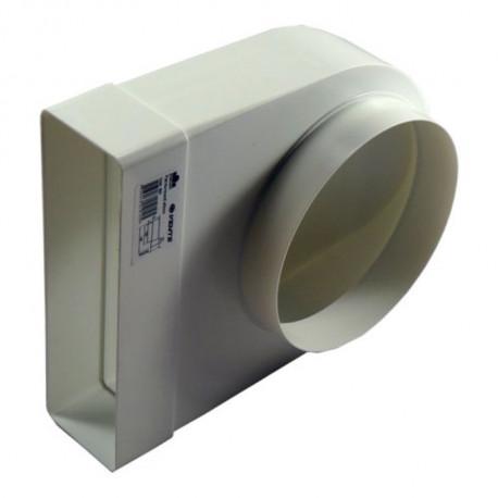 Reducție 90° PVC din conductă circular la rectangular Ø 150 mm / 204x60 mm