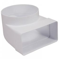 Reducție 90° PVC din conductă circular la rectangular Ø 100 mm / 110x55 mm