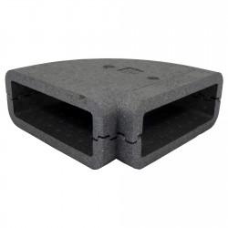 Izolație rectangulară PVC cot 90° orizontală, 204x60 mm