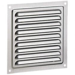 Grila de ventilație din aluminiu fără flanșă cu jaluzele fixe și plasă anti-insecte 150x150 mm