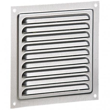 Grila de ventilație din aluminiu fără flanșă cu jaluzele fixe și plasă anti-insecte 250x250 mm