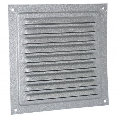 Grila de ventilație galvanizată fără flanșă cu jaluzele fixe și plasă anti-insecte 250x250 mm