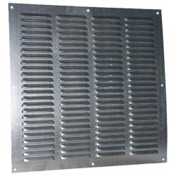 Grila de ventilație galvanizată fără flanșă cu jaluzele fixe și plasă anti-insecte 400x400 mm