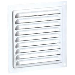Grila de ventilație metalică fără flanșă cu jaluzele fixe și plasă anti-insecte 125x125 mm, albă