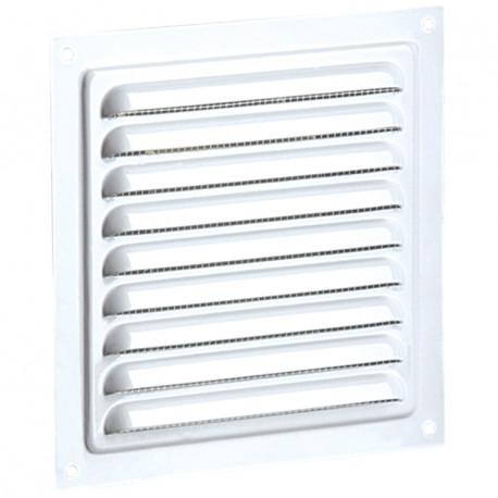 Grila de ventilație metalică fără flanșă cu jaluzele fixe și plasă anti-insecte 150x150 mm, albă