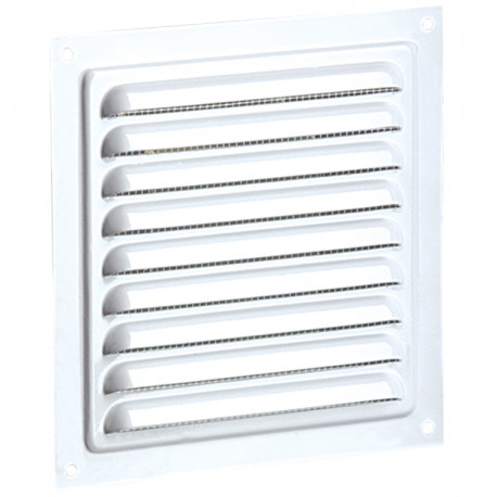 Grila de ventilație metalică fără flanșă cu jaluzele fixe și plasă anti-insecte 200x200 mm, albă