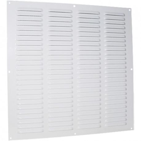 Grila de ventilație metalică fără flanșă cu jaluzele fixe și plasă anti-insecte 500x500 mm, albă