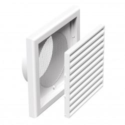 Grilă de ventilație din PVC cu plasă anti-insecte, jaluzele fixe 186x186 mm cu flanșă Ø 125 mm, albă