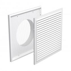 Grilă de ventilație din PVC cu plasă anti-insecte, jaluzele fixe 186x186 mm cu flanșă Ø 150 mm, albă