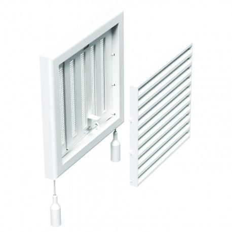 Grilă din PVC fără flanșă cu jaluzele actionate mecanic 154x154 mm, albă