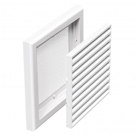 Grilă de ventilație din PVC fără flanșă cu jaluzele fixe și plasă anti-insecte 154x154 mm, albă