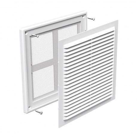 Grilă de ventilație din PVC fără flanșă cu jaluzele fixe și plasă anti-insecte 204x204 mm, albă