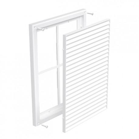 Grilă de ventilație din PVC fără flanșă cu jaluzele fixe și plasă anti-insecte 299x221 mm, albă