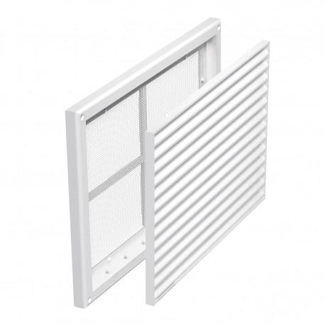 Grilă de ventilație din PVC fără flanșă cu jaluzele fixe și plasă anti-insecte 221x299 mm, albă