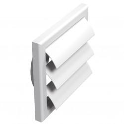 Grilă de ventilație PVC cu flanșă și jaluzele gravitaționale, 187x187 mm / Ø 125 mm, albă