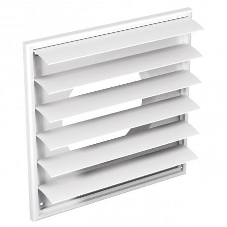 Grilă de ventilație PVC cu flanșă și jaluzele gravitaționale, 250x250 mm / Ø 150 mm, albă
