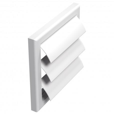 Grilă de ventilație PVC fără flanșă cu jaluzele gravitaționale 154x154 mm, albă