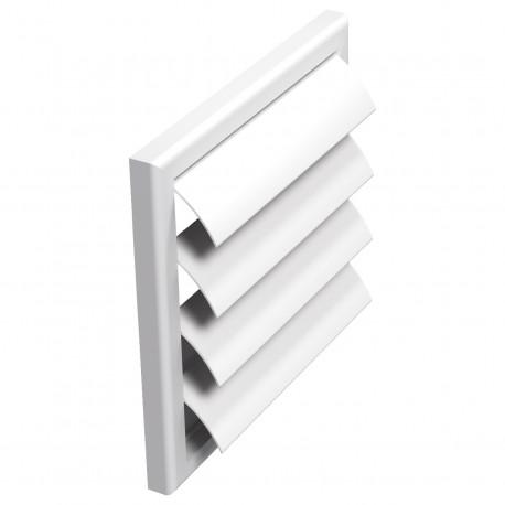 Grilă de ventilație PVC fără flanșă cu jaluzele gravitaționale 187x187 mm, albă