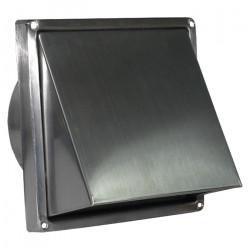 Grila de ventilație pătrată cu clapetă antiretur și flanșă din inox cu protecție vănt și ploaie 167x167 / Ø 150 mm