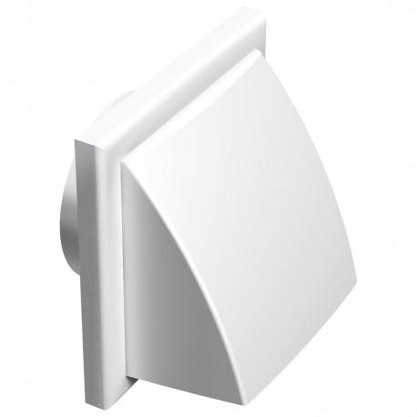 Grila de ventilație PVC cu clapetă antiretur și flanșă cu protecție vănt și ploaie 187x187 / Ø 125 mm, albă