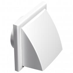 Grila de ventilație PVC cu clapetă antiretur și flanșă cu protecție vănt și ploaie 187x187 / Ø 150 mm, albă