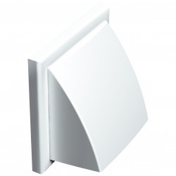 Grila de ventilație PVC cu clapetă antiretur fără flanșă 187x187, albă