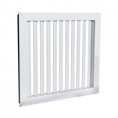 Grilă de ventilație PVC albă cu jaluzele fixe 363x363 mm