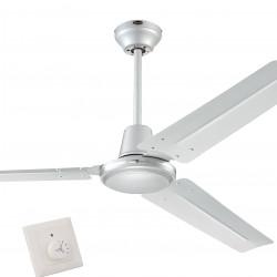 Ventilator de tavan cu comandă de perete Westinghouse Industrial Silver 72501, Ø 142 cm