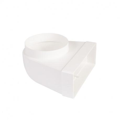 Reducție 90° PVC din conductă circular la rectangular Ø 125 mm / 204x60 mm