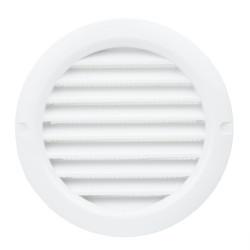 Grilă de ventilație circulară din PVC cu flanșă și plasă anti-insecte Ø 100 mm, albă