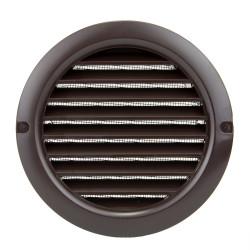 Grilă de ventilație circulară din PVC cu flanșă și plasă anti-insecte Ø 125 mm, maro