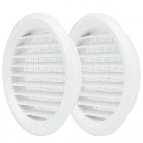 Grilă de ventilație circulară din PVC cu flanșă și plasă anti-insecte Ø 80 mm, albă (2 buc.)