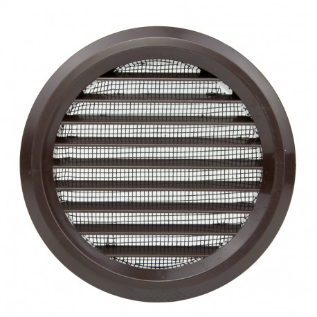 Grilă de ventilație circulară din PVC cu flanșă și plasă anti-insecte Ø 80 mm, maro