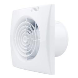 Ventilator de baie silențios cu comutator de timp, higrostat și clapetă antiretur plastică Ø 100 mm