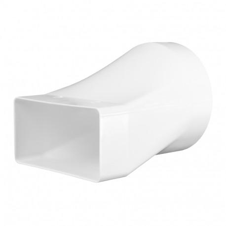 Reducție PVC pentru conductă circulară la rectangulară Ø 125 mm / 204x60 mm