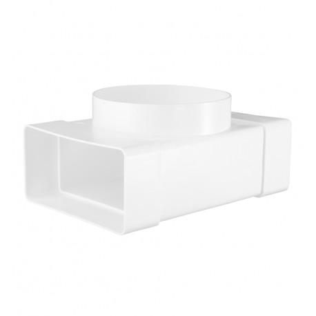 "Ramificație PVC tip ""T"" la conducte rectangulare și circulară Ø 100 mm / 204x60 mm"