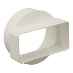 Reducție scurtă PVC pentru conductă circulară la rectangulară Ø 100 mm / 110x55 mm