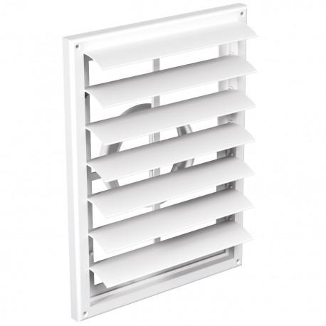 Grilă de ventilație PVC cu flanșă și jaluzele gravitaționale, 299x221 mm / Ø 100 până 160 mm, albă