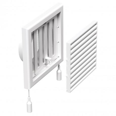 Grilă de ventilație din PVC cu jaluzele actionate mecanic 154x154 mm cu flanșă Ø 100 mm, albă