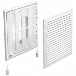 Grilă de ventilație din PVC cu jaluzele actionate mecanic 250x250 mm cu flanșă Ø 150 mm, albă