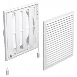 Grilă de ventilație din PVC cu jaluzele actionate mecanic 250x250 mm cu flanșă Ø 200 mm, albă