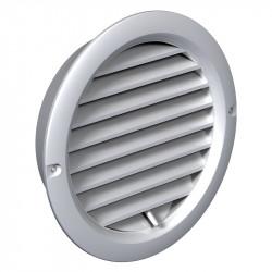 Grilă de ventilație din PVC cu flanșă și jaluzele acționate mecanic Ø 100 mm, albă