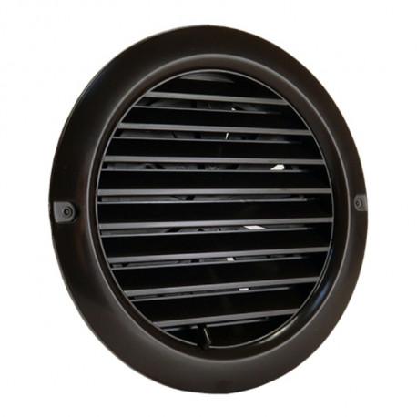Grilă de ventilație din PVC cu flanșă și jaluzele acționate mecanic Ø 125 mm, maro