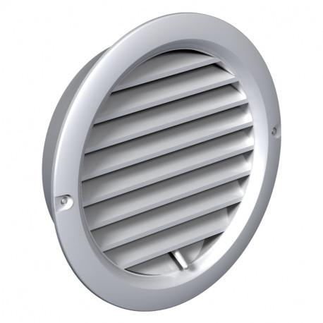 Grilă de ventilație din PVC cu flanșă și jaluzele acționate mecanic Ø 150 mm, albă