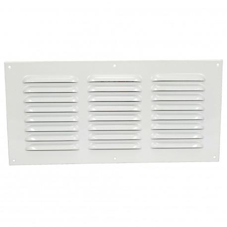 Grila de ventilație metalică fără flanșă cu jaluzele fixe și plasă anti-insecte 305x150 mm, albă