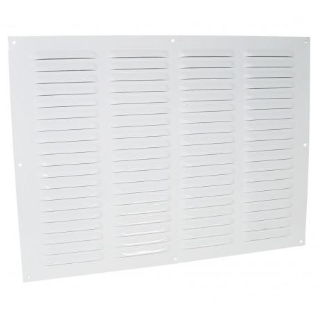 Grila de ventilație metalică fără flanșă cu jaluzele fixe și plasă anti-insecte 400x300 mm, albă