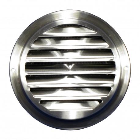 Grilă de ventilație din inox cu flanșă și plasă anti-insecte Ø 125 mm